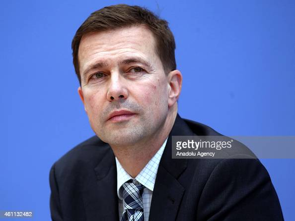 German government spokesperson Steffen Seibert speaks during a press conference at the federal press office in Berlin Germany on January 72015