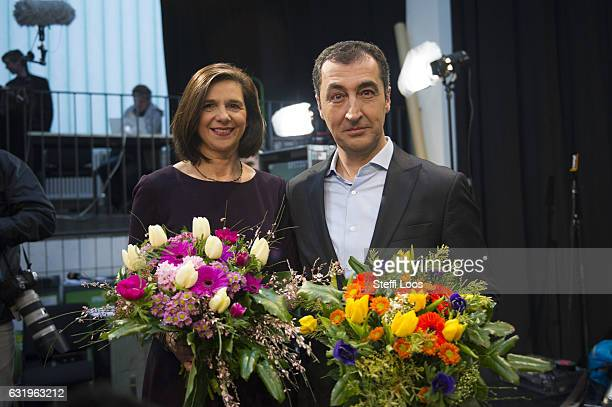 German Green Party Buendniss 90 / Die Gruenen candidate duo for federal elections Katrin GoeringEckardt and Cem Oezdemir pose on January 18 2017 in...