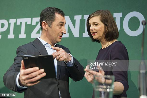 German Green Party Buendniss 90 / Die Gruenen candidate duo for federal elections Katrin GoeringEckardt and Cem Oezdemir talk to the media on January...