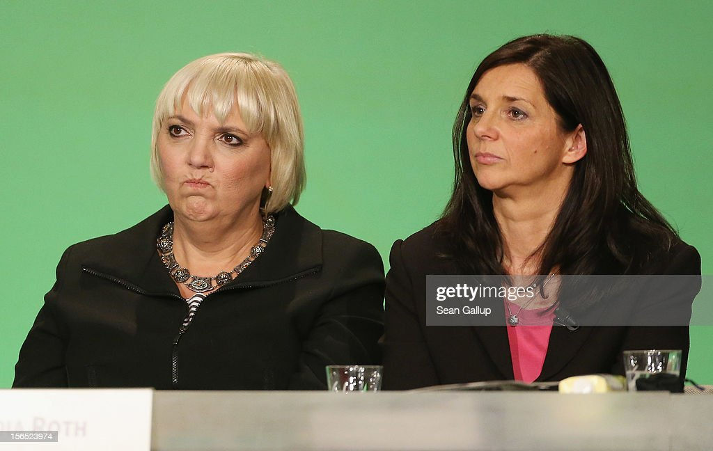 German Greens Party cochairwoman Claudia Roth and cochancellor candidate Katrin GoeringEckardt attend the Greens Party federal convention under a...
