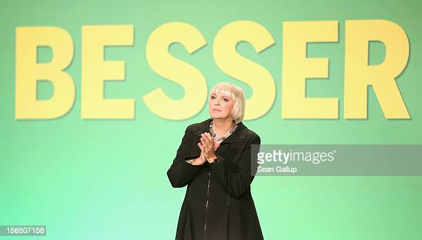 German Greens Party cochairwoman Claudia Roth attends the Greens party federal convention on November 16 2012 in Hanover Germany Germany faces...