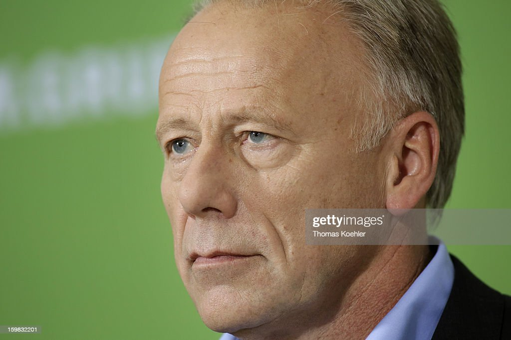 German Greens Party co-chancellor candidate Juergen Trittin during a press conference a day after the SPD and German Greens party emerged with a hairline victory in Lower Saxony on January 21, 2013 in Berlin, Germany. Germany faces national elections later this year.