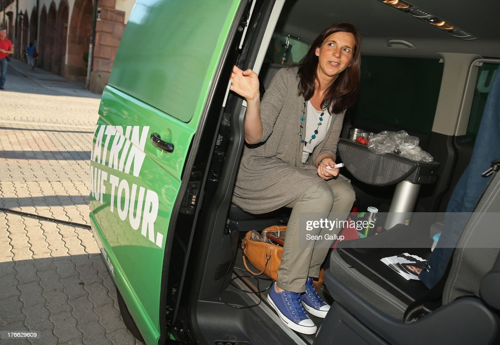 German Greens Party (Buendnis 90/Die Gruenen) co-lead candidate <a gi-track='captionPersonalityLinkClicked' href=/galleries/search?phrase=Katrin+Goering-Eckardt&family=editorial&specificpeople=5335700 ng-click='$event.stopPropagation()'>Katrin Goering-Eckardt</a> departs after speaking at an election campaign stop on August 16, 2013 in Leipzig, Germany. Germany is scheduled to hold federal elections on September 22 and the Greens could well play a decisive role in the formation of a government coalition.