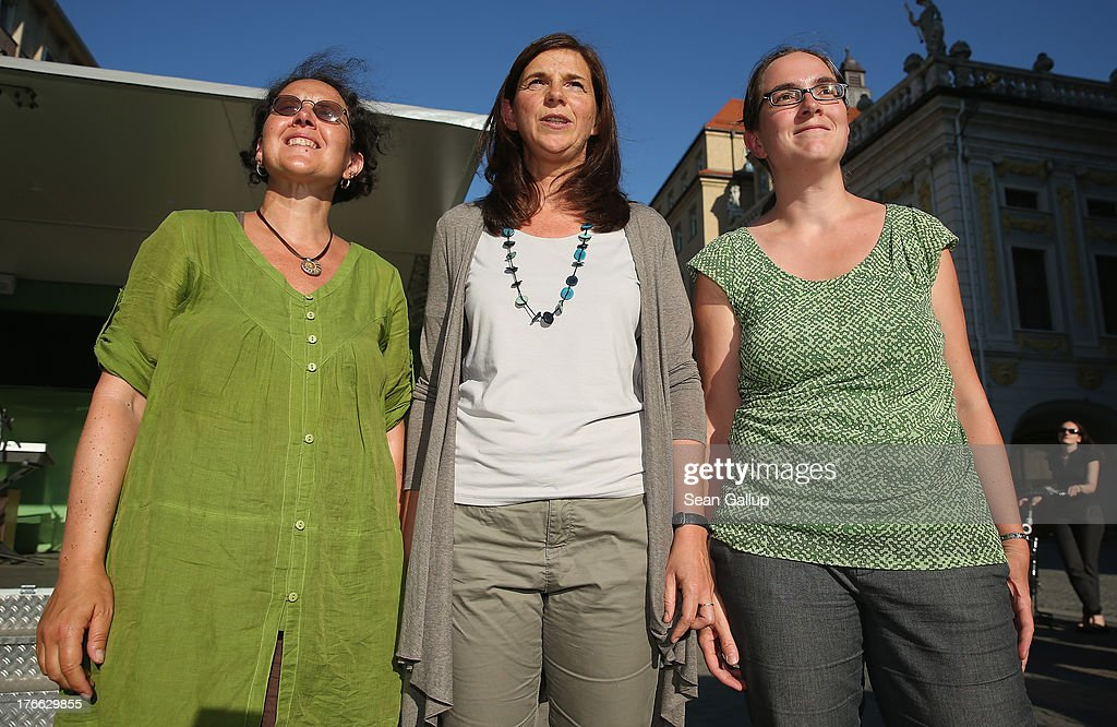 German Greens Party (Buendnis 90/Die Gruenen) co-lead candidate <a gi-track='captionPersonalityLinkClicked' href=/galleries/search?phrase=Katrin+Goering-Eckardt&family=editorial&specificpeople=5335700 ng-click='$event.stopPropagation()'>Katrin Goering-Eckardt</a> (C) poses with local Greens Party candidates Monika Lazar (L) and Stefanie Gruner during an election campaign stop on August 16, 2013 in Leipzig, Germany. Germany is scheduled to hold federal elections on September 22 and the Greens could well play a decisive role in the formation of a government coalition.