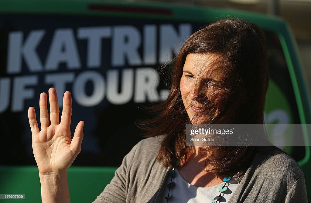 German Greens Party (Buendnis 90/Die Gruenen) co-lead candidate <a gi-track='captionPersonalityLinkClicked' href=/galleries/search?phrase=Katrin+Goering-Eckardt&family=editorial&specificpeople=5335700 ng-click='$event.stopPropagation()'>Katrin Goering-Eckardt</a> speaks to supporters during an election campaign stop on August 16, 2013 in Leipzig, Germany. Germany is scheduled to hold federal elections on September 22 and the Greens could well play a decisive role in the formation of a government coalition.