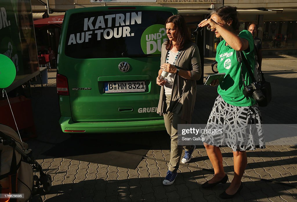 German Greens Party (Buendnis 90/Die Gruenen) co-lead candidate Katrin Goering-Eckardt walks with a colleague during an election campaign stop on August 16, 2013 in Leipzig, Germany. Germany is scheduled to hold federal elections on September 22 and the Greens could well play a decisive role in the formation of a government coalition.