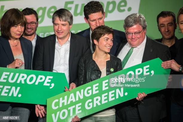 German Greens Party members Sven Giegold Rebecca Harms Ireland Greens Party Chairman Eamon Ryan top candidate of the European Green Party Ska Keller...