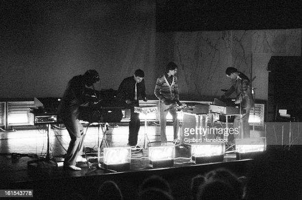 German group Kraftwerk perform live at the SF Festival in Rotterdam Netherlands on March 21 1976 LR Ralf Hutter Karl Bartos Wolfgang Flur and Florian...