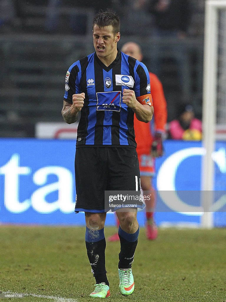 German Gustavo Denis of Atalanta BC celebrates after scoring his second goal during the Serie A match between Atalanta BC and SSC Napoli at Stadio Atleti Azzurri d'Italia on February 2, 2014 in Bergamo, Italy.