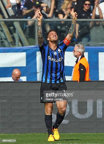 German Gustavo Denis of Atalanta BC celebrates after scoring the opening goal during the Serie A match between Atalanta BC and US Sassuolo Calcio at...