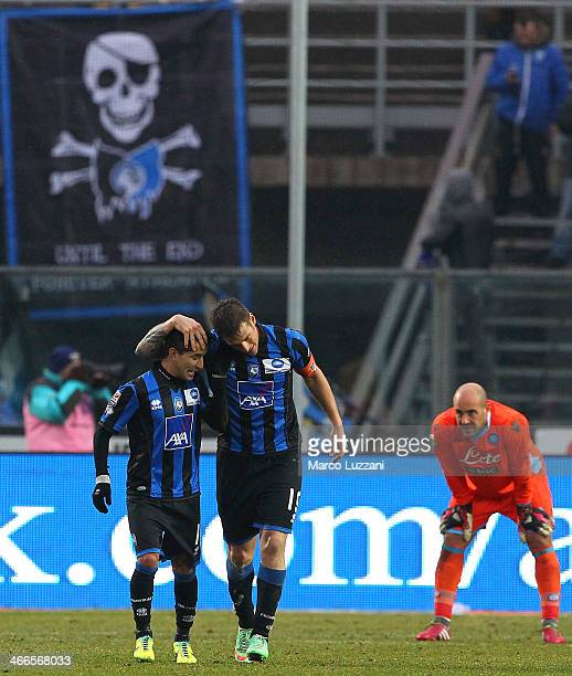 German Gustavo Denis of Atalanta BC celebrates his second goal with teammate Maximiliano Moralez as goalkeeper Pepe Reina of SSC Napoli looks on...