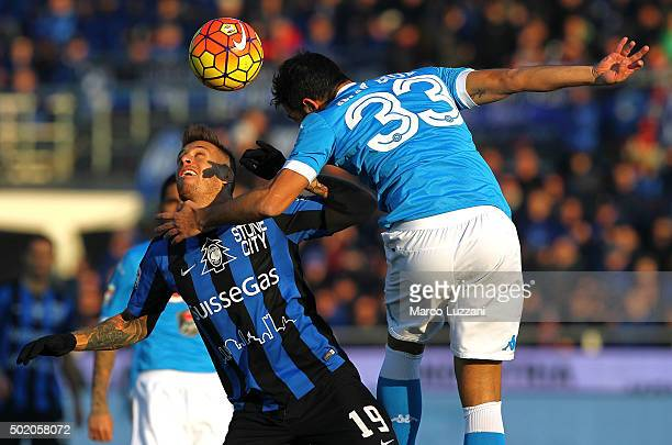 German Gustavo Denis of Atalanta BC competes for the ball with Raul Albiol of SSC Napoli during the Serie A match between Atalanta BC and SSC Napoli...