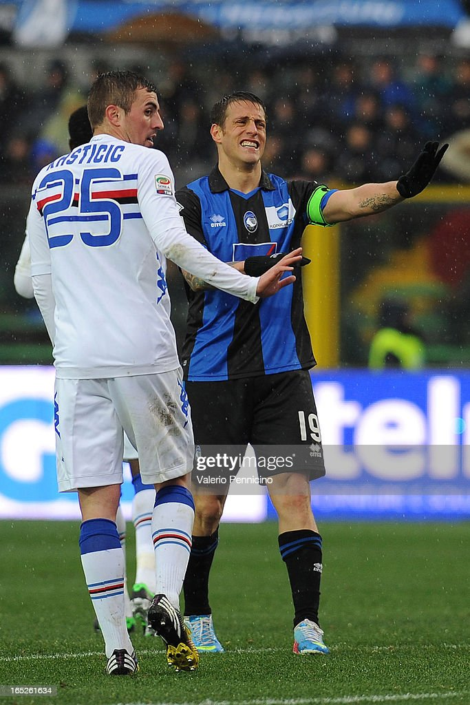 German Gustavo Denis (R) of Atalanta BC reacts during the Serie A match between Atalanta BC and UC Sampdoria at Stadio Atleti Azzurri d'Italia on March 30, 2013 in Bergamo, Italy.