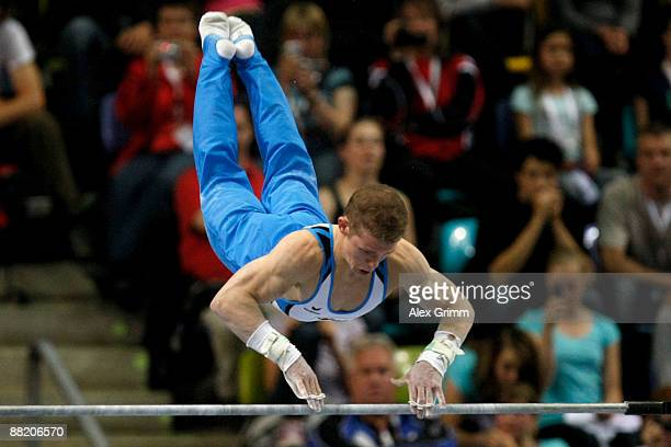 German gymnast Fabian Hambuechen performs on the horizontal bar in the German individual championship during the German Gymnastics Festival at the...