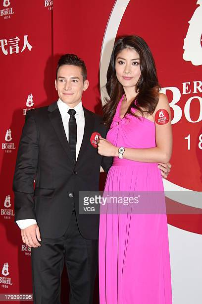 German gymnast Marcel Nguyen and Chinese singer and actress Kelly Chen pose as they attend Ernest Borel Global Ambassador Appointment Ceremony on...