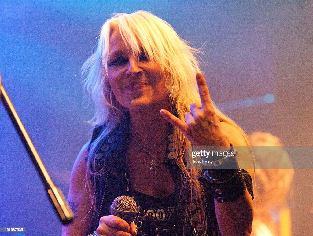 German hard rock vocalist, Doro Pesch of DORO performs in concert at Mojoes on February 13, 2013 in Joliet, Illinois.