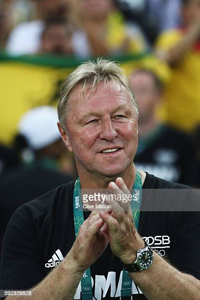 German head coach Horst Hrubesch looks on before the Men's Football Final between Brazil and Germany at the Maracana Stadium on Day 15 of the Rio...