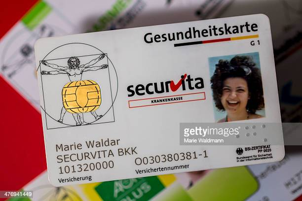 German health card with photo on February 25 2014 in Berlin Germany