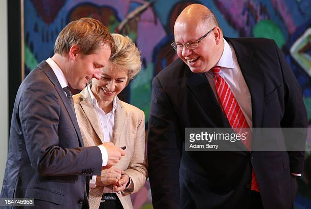 German Health Minister Daniel Bahr German Labor Minister Ursula von der Leyen and German Environment Minister Peter Altmaier arrive for the weekly...