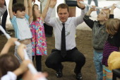 German Health Minister Daniel Bahr plays with children at the Teddy Bear Clinic at Charite Hospital on May 8 2013 in Berlin Germany Charite Hospital...