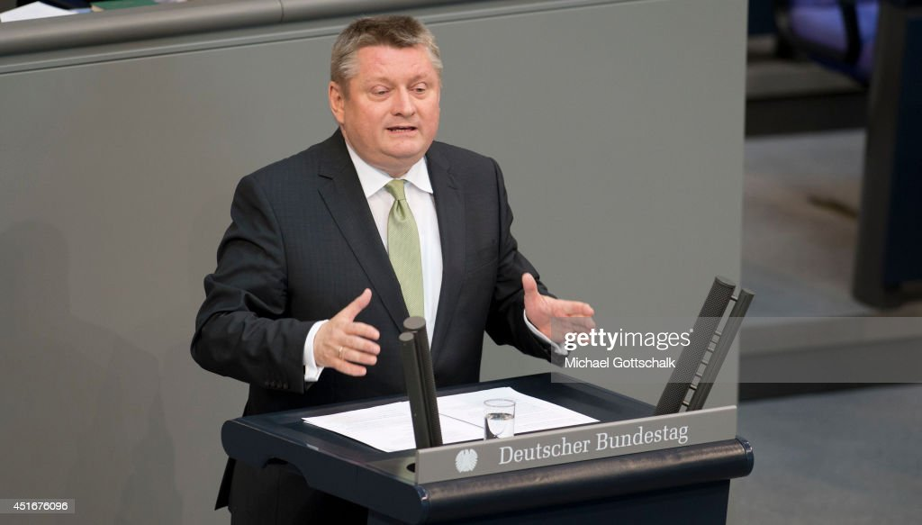 German Health Minister <a gi-track='captionPersonalityLinkClicked' href=/galleries/search?phrase=Hermann+Groehe&family=editorial&specificpeople=6400355 ng-click='$event.stopPropagation()'>Hermann Groehe</a> holds a speech during the debate ton federal care insurance reformon July 04, 2014 in Berlin, Germany.