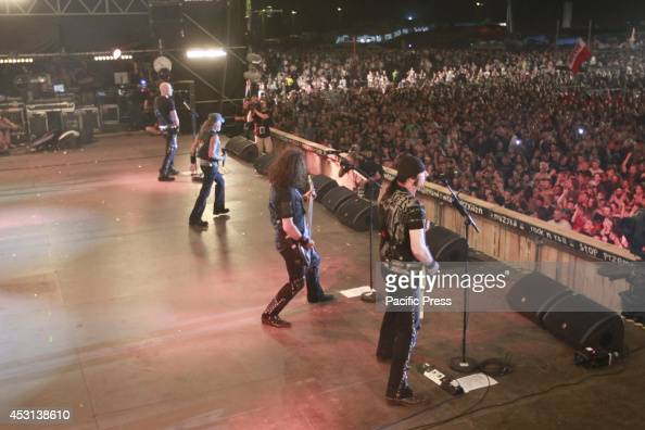 German heavy metal band called Accept from the town of Solingenat perform live at the Woodstock Festival in Kuestrin in Poland
