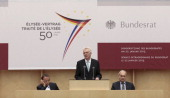 German higher house of Parliament Bundesrat President Winfried Kretschmann delivers a speech during a special joint plenary session on January 22...