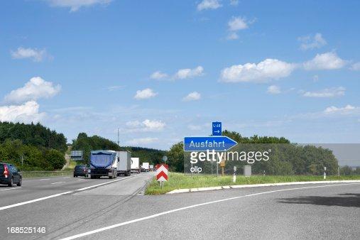 German highway, road sign - Ausfahrt/Exit