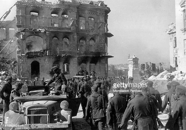 German infantry marching through the rubble of a Sevastopol district Sevastopol July 1942