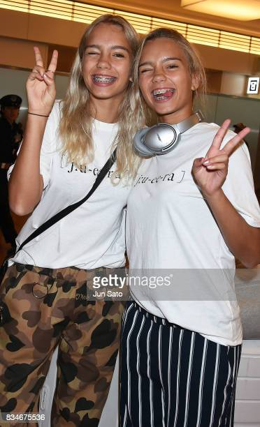 German Instagrammer/YouTuber twins Lisa and Lena are seen on arrival at Haneda International Airport on August 18 2017 in Tokyo Japan
