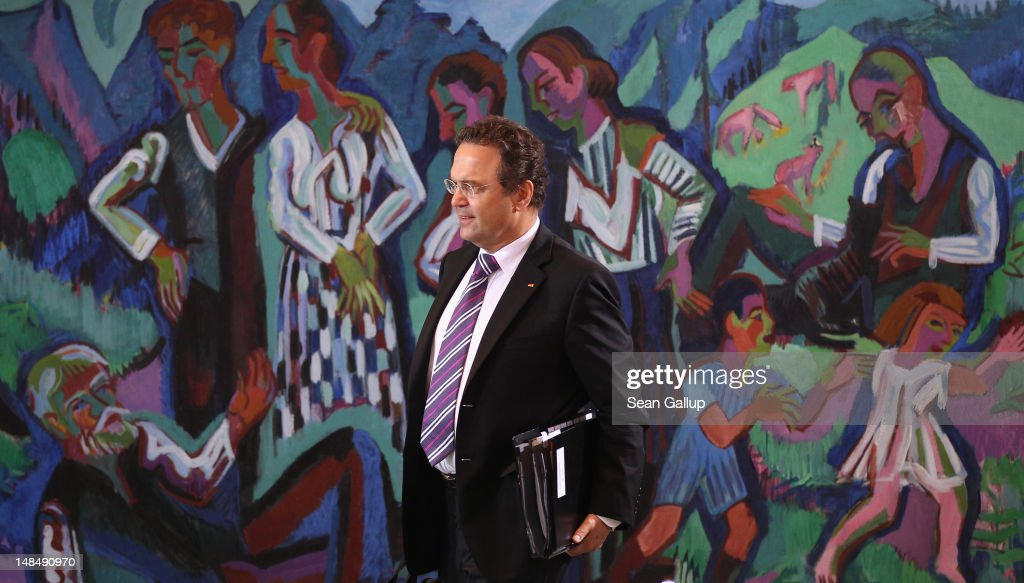 German Interior Minister HansPeter Friedrich arrives for the weekly German government cabinet meeting on July 18 2012 in Berlin Germany The cabinet...