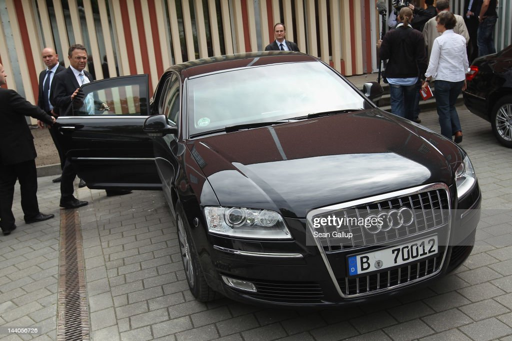 German Interior Minister HansPeter Friedrich gets into his government car after touring the expanded youth arrest facility in Lichtenrade district on...