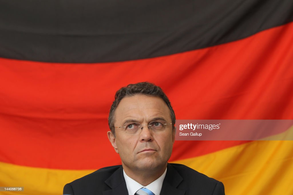 German Interior Minister HansPeter Friedrich speaks to the media after touring the expanded youth arrest facility in Lichtenrade district on May 9...