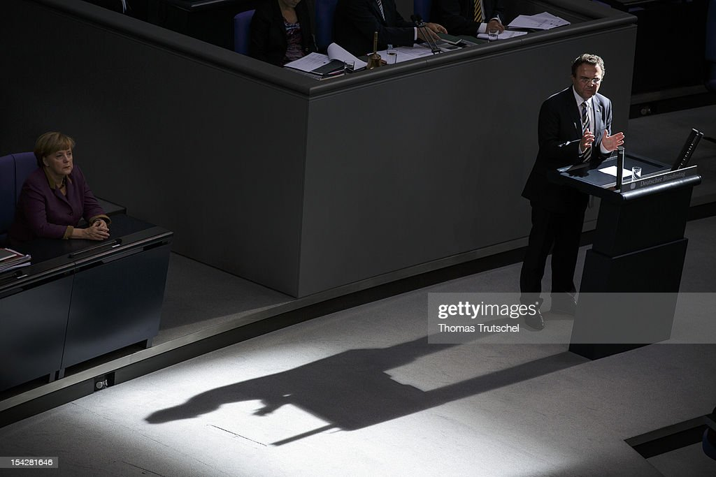 German Interior Minister HansPeter Friedrich speeks during a debate on the antiSemitism report at Reichstag the seat of the German Parliament on...