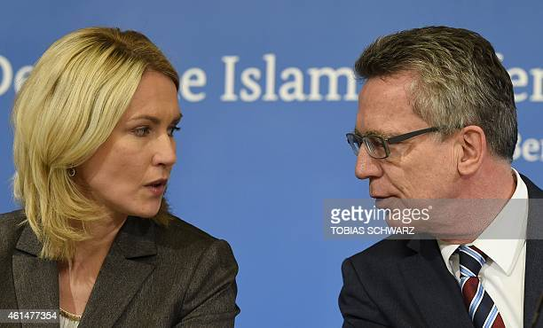 German Interior Minister Thomas de Maiziere and German Family Minister Manuela Schwesig give a joint press statement to comment on the socalled...