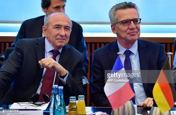German Interior Minister Thomas de Maiziere and his French counterpart Gerard Collomb attend the first meeting of the FrancoGerman integration...