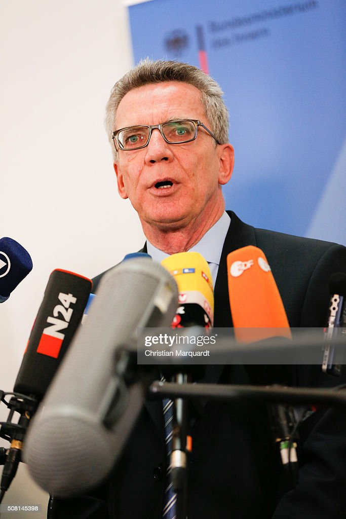 German Interior Minister <a gi-track='captionPersonalityLinkClicked' href=/galleries/search?phrase=Thomas+de+Maiziere&family=editorial&specificpeople=618845 ng-click='$event.stopPropagation()'>Thomas de Maiziere</a> attends a press statement on topic 'Asylum and new safe countries of origin' after a panel discussion on February 3, 2016 in Berlin, Germany. Interior Minister de Maiziere advocates that Algeria, Tunisia and Morocco are classified as safe countries of origin for refugees.
