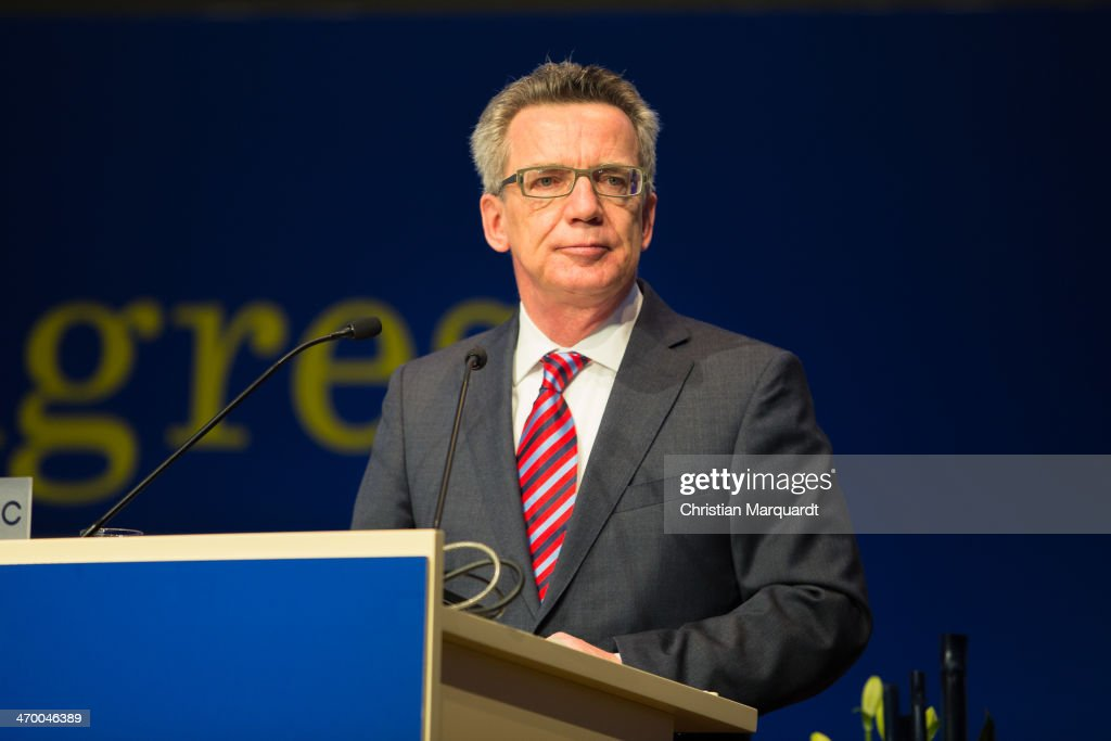 German Interior Minister <a gi-track='captionPersonalityLinkClicked' href=/galleries/search?phrase=Thomas+de+Maiziere&family=editorial&specificpeople=618845 ng-click='$event.stopPropagation()'>Thomas de Maiziere</a> (CDU) gives a speech during the 17th European Police Congress on February 18, 2014 in Berlin, Germany. The 'European Police Congress' is an international platform for decision makers from police forces and security authorities.