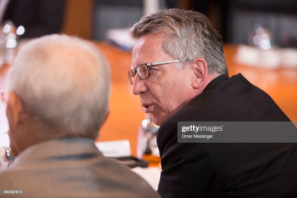 German Interior Minister Thomas de Maiziere is seen attending the weekly government cabinet meeting on August 16, 2017 in Berlin, Germany. Today's is the first cabinet meeting since government members return from summer vacation. Germany faces federal elections in September.