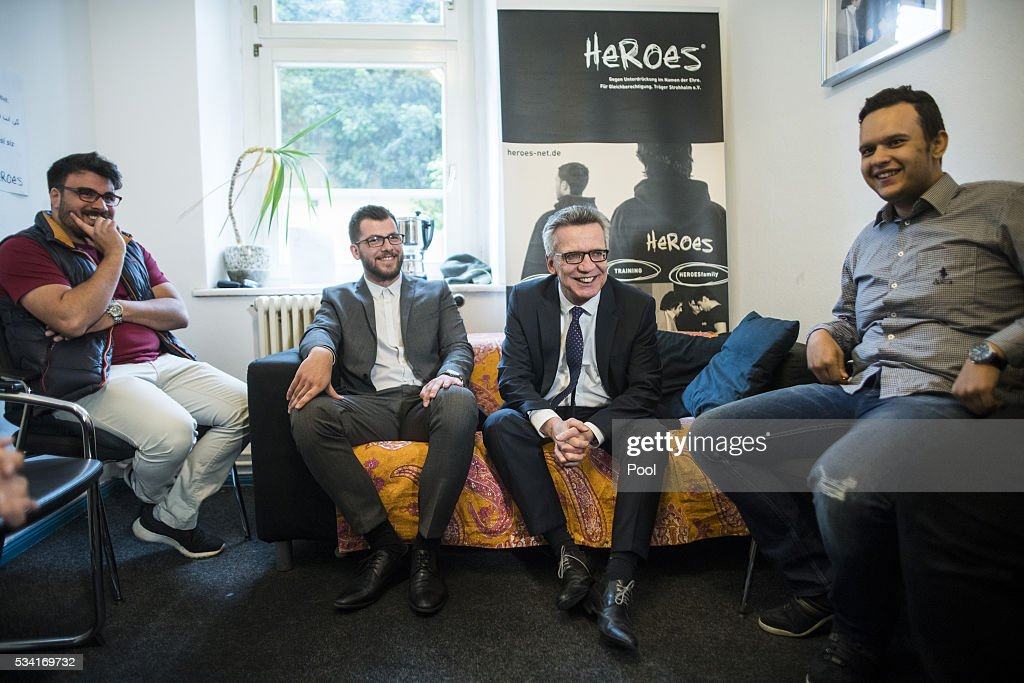 German Interior Minister Thomas de Maiziere is seen during his visit to an integration project named 'Heroes' on May 25, 2016 in Berlin, Germany. 'Heroes' trains young men, mostly of immigrant backgrounds and who come from families with very non-Western outlooks on the role of honor, marriage and women, to adopt a more liberal approach and attitude. The young men then go back into their communities and seek to influence others. Germany is home to many very conservative immigrant families, especially from eastern Turkey, where the behavior of a daughter is seen to have a great impact on the honor of the entire family. There are typically dozens of cases of 'honor killings' every year across Germany in which family members murder a daughter whom they feel has abandoned her conservative principles, often by adopting Western dress and education or marrying outside the community.