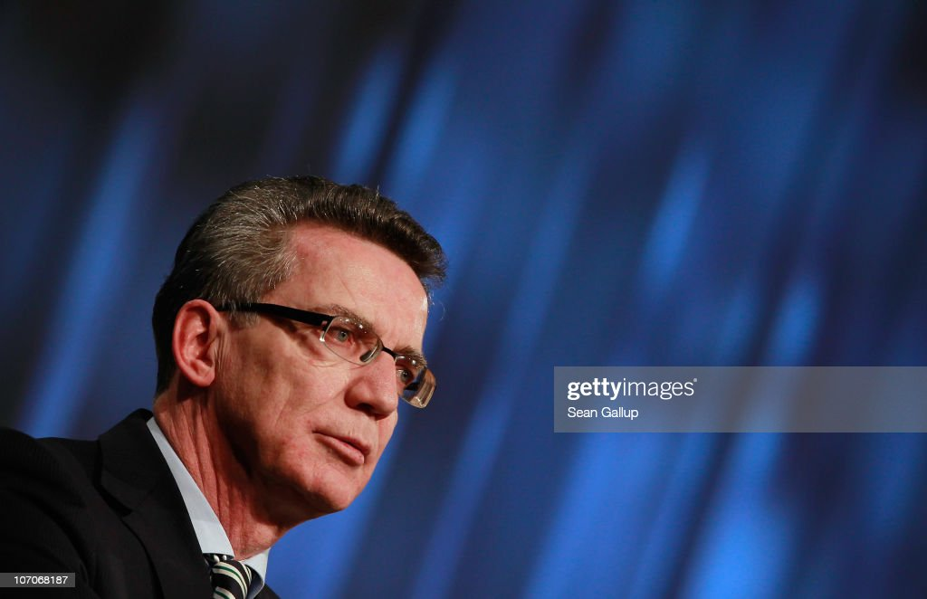 German Interior Minister <a gi-track='captionPersonalityLinkClicked' href=/galleries/search?phrase=Thomas+de+Maiziere&family=editorial&specificpeople=618845 ng-click='$event.stopPropagation()'>Thomas de Maiziere</a> speaks at the annual convention of the Labour Union of Police (Gewerkschaft der Polizei) on November 22, 2010 in Berlin, Germany. De Maiziere recently announced that Islamic terrorists are planning attacks on German territory to take place towards the end of November. The entire country is on high alert, and speculation has centered around a possible attack on the Reichstag in Berlin, seat of the German parliament, especially after the cupola was closed to the public today.