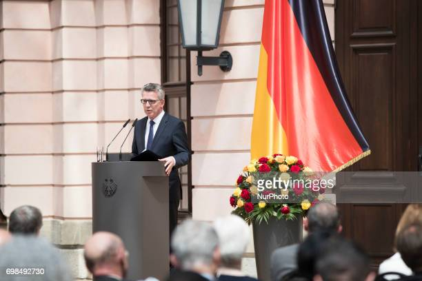 German Interior Minister Thomas De Maiziere speaks during a Commemoration day for the Victims of escape and eviction at the German History Museum in...