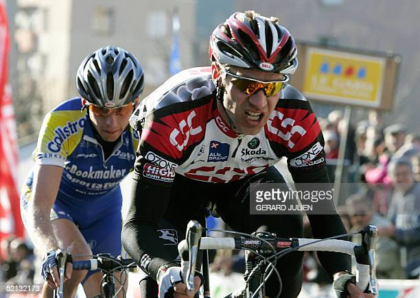 German Jens Voigt competes in front of Belgian Johan Coenen before winning the third stage of the 35th edition of the Etoile de Besseges cycling race...