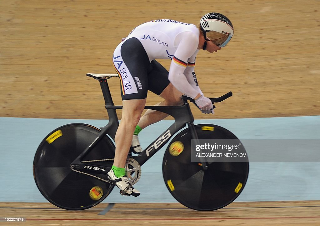 German Joachim Eilers competes for the bronze during the men's kilometre time trial event of UCI Track Cycling World Championships in Minsk on February 20, 2013. Van Velthooven won silver.