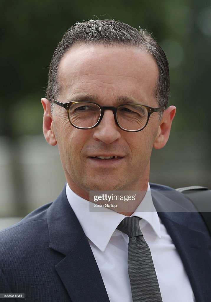 German Justice Minister <a gi-track='captionPersonalityLinkClicked' href=/galleries/search?phrase=Heiko+Maas&family=editorial&specificpeople=6214500 ng-click='$event.stopPropagation()'>Heiko Maas</a> arrives for a meeting of the government cabinet at Schloss Meseberg palace on May 24, 2016 near Gransee, Germany. The government cabinet is meeting at Schloss Meseberg for a two-day retreat.