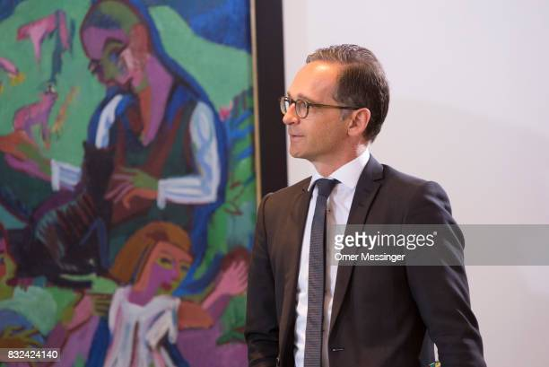 German Justice Minister Heiko Maas is seen arriving for the weekly government cabinet meeting on August 16 2017 in Berlin Germany Today's is the...