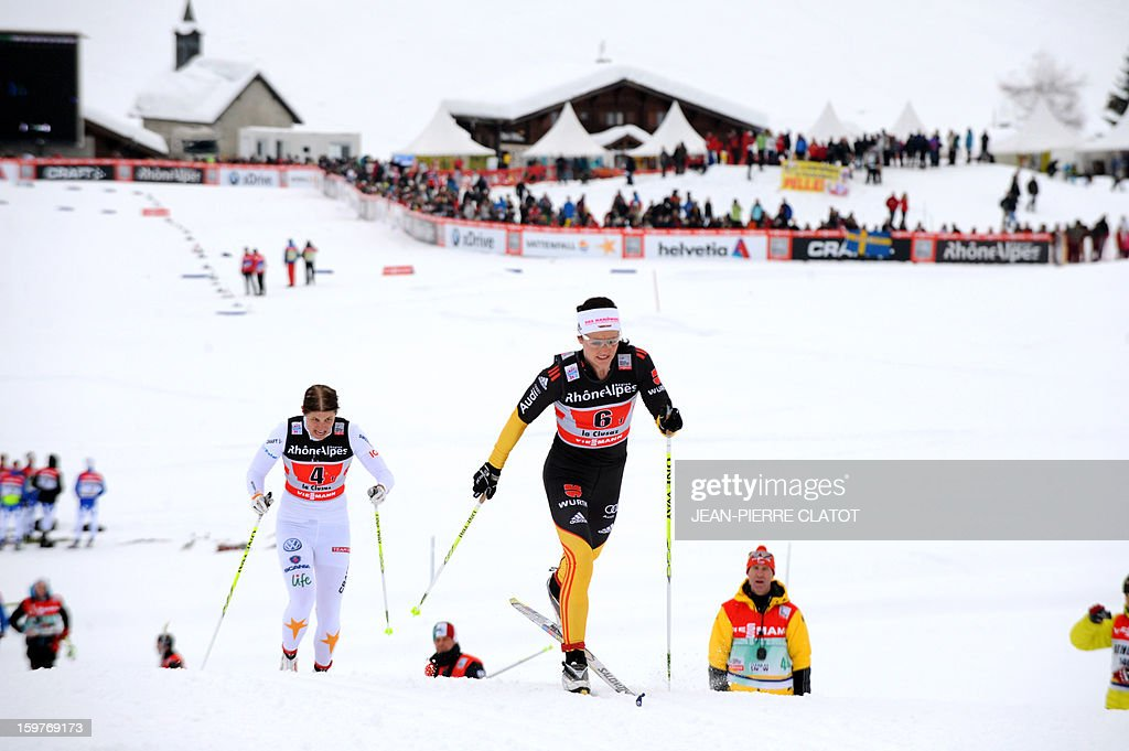 German Katrin Zeller (C) and Swedish Ida Ingemarsdotter (L) compete in the Ladies's Nordic skiing combined World Cup relay (4 x 5 km) on January 20, 2013 in La Clusaz, eastern France.