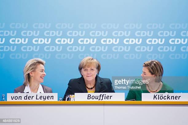 German Labor Minister Ursula von der Leyen German Chancellor Angela Merkel and Julia Kloeckner head of CDU in the German State of RhinelandPalatinate...