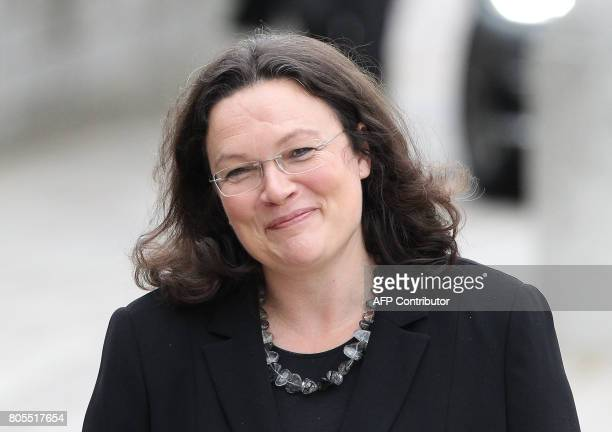 German Labour and Social Minister Andrea Nahles arrives for a memorial service for late former Chancellor Helmut Kohl on July 1 2017 at the cathedral...
