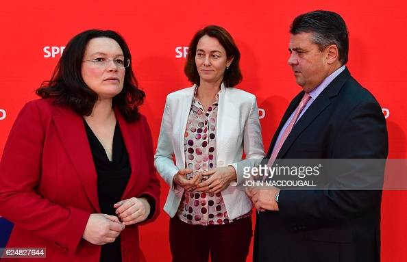 German Labour and Social Minister Andrea Nahles Social Democratic Party Secretary General Katarina Barley and SPD leader Sigmar Gabriel attend a...